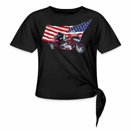 Patriotic Trike - Women's Knotted T-Shirt