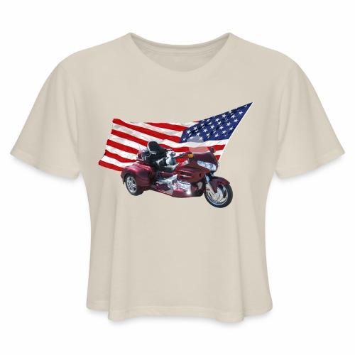 Patriotic Trike - Women's Cropped T-Shirt