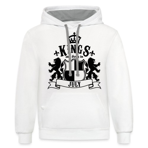 Kings are born in July - Contrast Hoodie