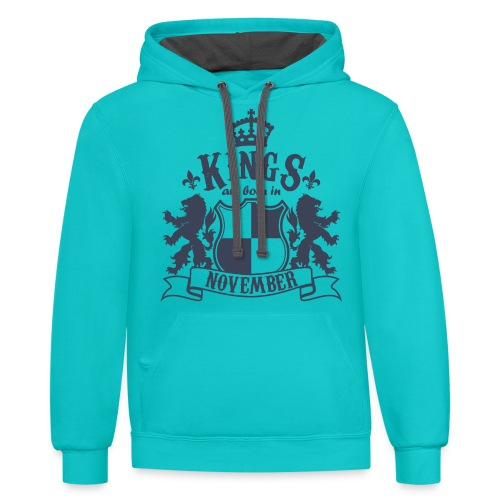 Kings are born in November - Contrast Hoodie
