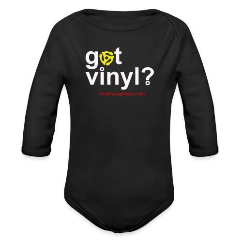 Got Vinyl? White on Black - Organic Long Sleeve Baby Bodysuit