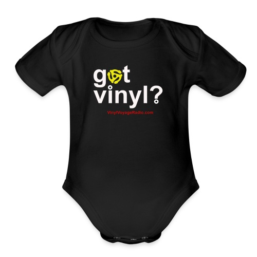 Got Vinyl? White on Black - Organic Short Sleeve Baby Bodysuit