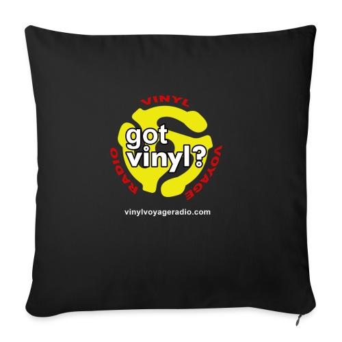 "Vinyl Voyage Official Logo - Throw Pillow Cover 18"" x 18"""