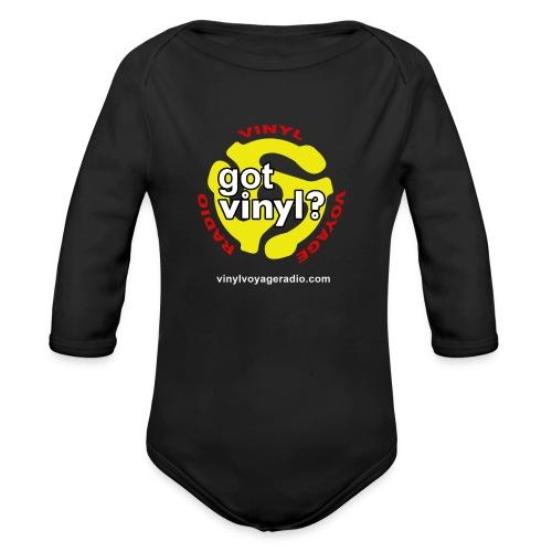 Vinyl Voyage Official Logo - Organic Long Sleeve Baby Bodysuit
