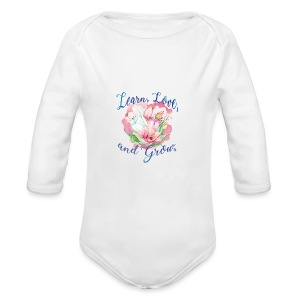 Beautiful Inspirational Flower Message - Long Sleeve Baby Bodysuit