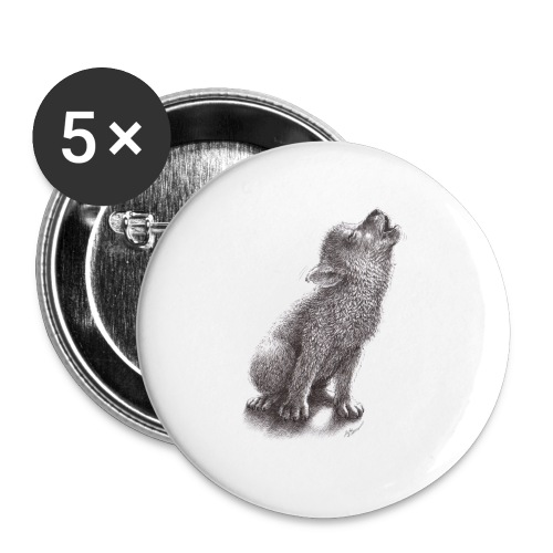Funny Howling Wolf - Large Buttons