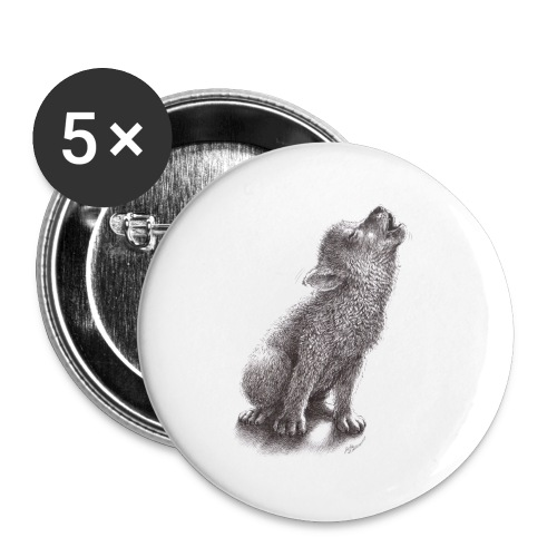Funny Howling Wolf - Small Buttons