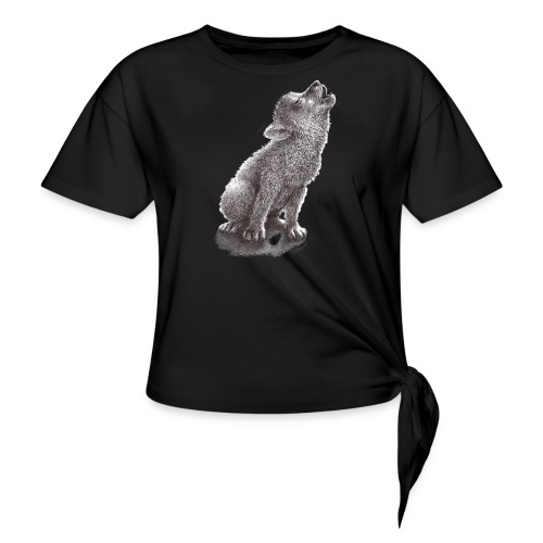 Funny Howling Wolf - Women's Knotted T-Shirt