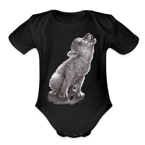 Funny Howling Wolf - Organic Short Sleeve Baby Bodysuit