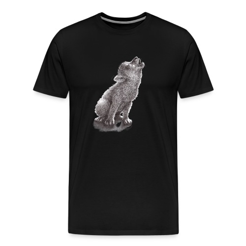 Funny Howling Wolf - Men's Premium T-Shirt