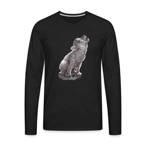 Funny Howling Wolf - Men's Premium Long Sleeve T-Shirt