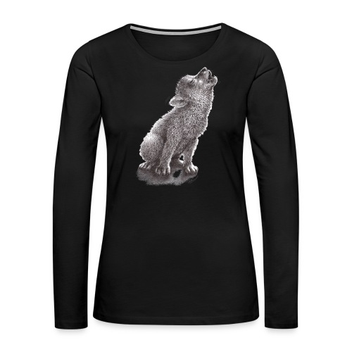Funny Howling Wolf - Women's Premium Long Sleeve T-Shirt