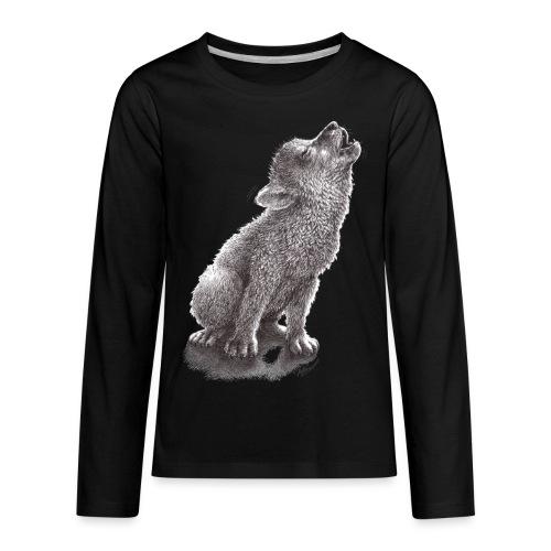 Funny Howling Wolf - Kids' Premium Long Sleeve T-Shirt