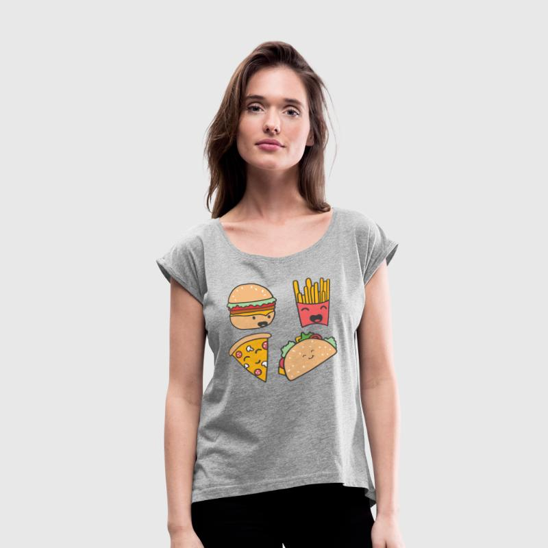 fast food friends - Women's Roll Cuff T-Shirt