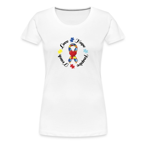Autism Awareness Button - Women's Premium T-Shirt