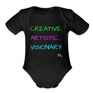CREATIVE. ARTISTIC. VISIONARY. T shirt by Stephanie Lahart. - Short Sleeve Baby Bodysuit