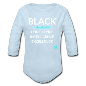 BLACK mixed with Shirt: BLACK mixed with CONFIDENCE INTELLIGENCE EXCELLENCE T shirt by Stephanie Lahart.  - Long Sleeve Baby Bodysuit