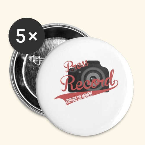 Press Record Baseball T - Buttons small 1'' (5-pack)