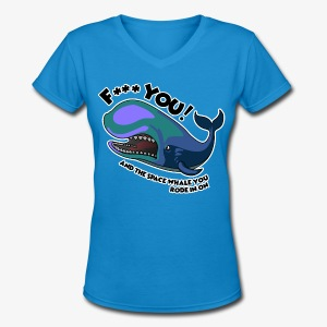 F*** YOU Space Whale - Women's V-Neck T-Shirt