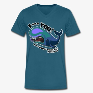 F*** YOU Space Whale - Men's V-Neck T-Shirt by Canvas