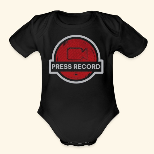 Press Record Button - Organic Short Sleeve Baby Bodysuit
