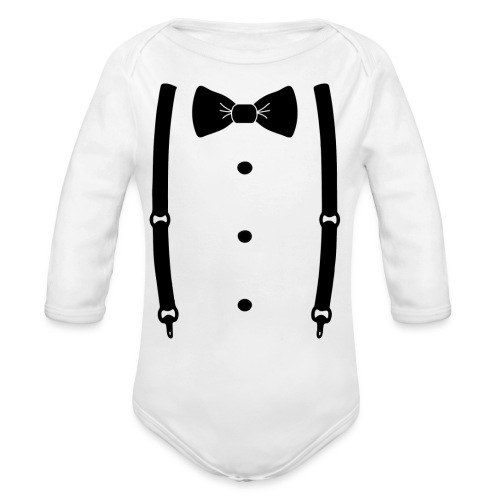 Bow tie for the cool guy - Organic Long Sleeve Baby Bodysuit