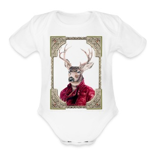 Deer Portrait - Short Sleeve Baby Bodysuit