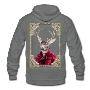 Deer Portrait - Unisex Fleece Zip Hoodie by American Apparel
