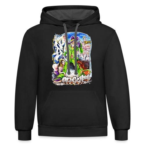 HOPS - Design for New York Graffiti Color Logo - Contrast Hoodie