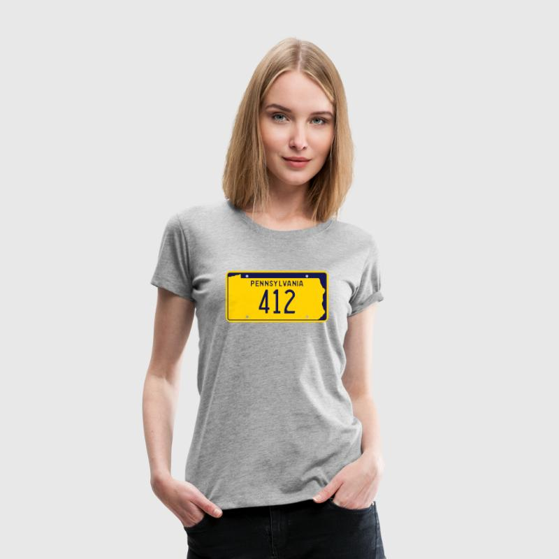 Pennsylvania Area Code 412 Retro License Plate - Women's Premium T-Shirt