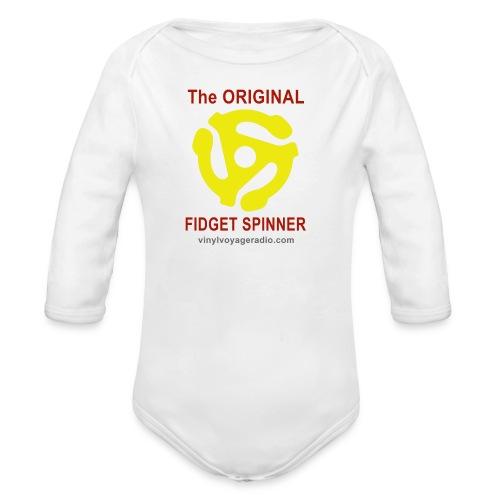 Original Fidget Spinner-Red Lettering - Organic Long Sleeve Baby Bodysuit