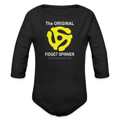 Original Fidget Spinner-White Lettering - Organic Long Sleeve Baby Bodysuit