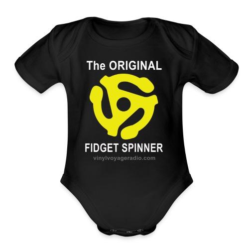 Original Fidget Spinner-White Lettering - Organic Short Sleeve Baby Bodysuit