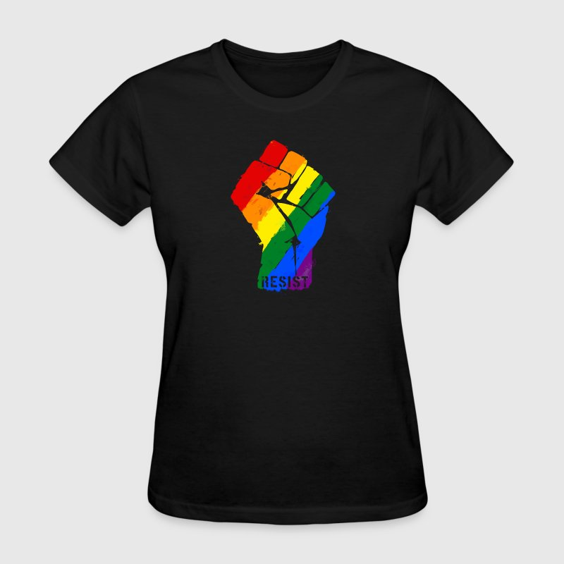 Resist Rainbow Flag Fist LGBT T-Shirts - Women's T-Shirt
