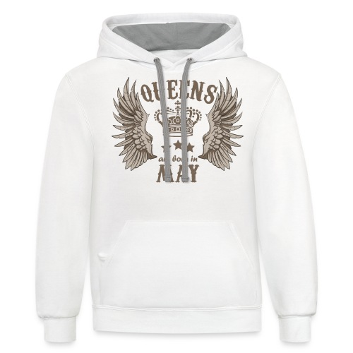Queens are born in May - Contrast Hoodie