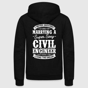 Civil Engineer's Wife Never Dreamed T-Shirts - Unisex Fleece Zip Hoodie by American Apparel
