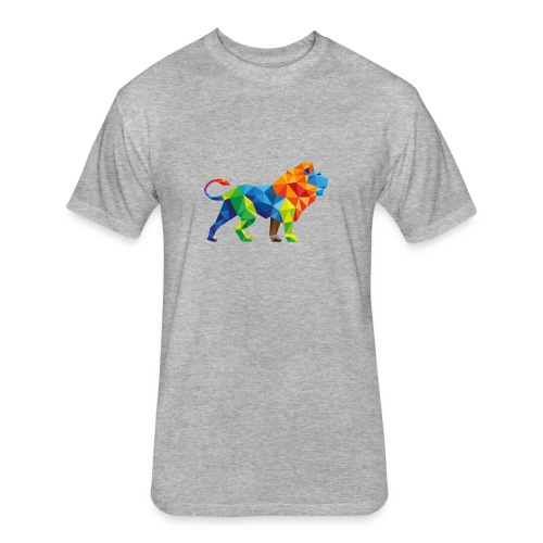 Geometric Rainbow Lion T-Shirts - Fitted Cotton/Poly T-Shirt by Next Level