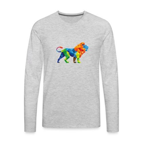 Geometric Rainbow Lion T-Shirts - Men's Premium Long Sleeve T-Shirt