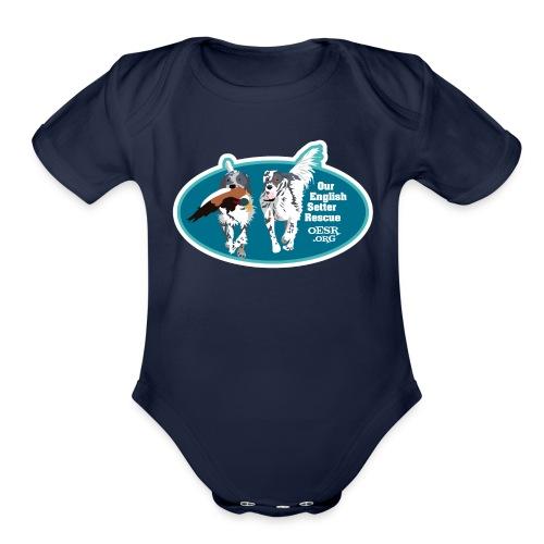 2017 OESR Men's Premium Shirt with 2 Setters Running - Organic Short Sleeve Baby Bodysuit