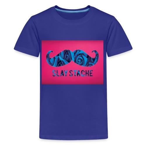 Slay Stache Blue Roses  T-Shirts - Kids' Premium T-Shirt