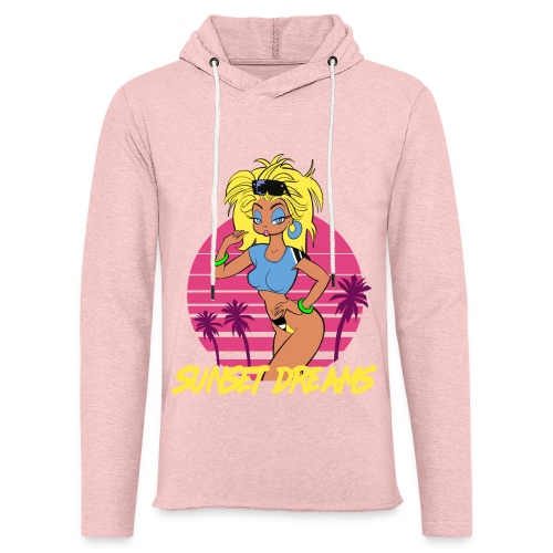 Sunset Dreams Pinup Blue - Unisex Lightweight Terry Hoodie
