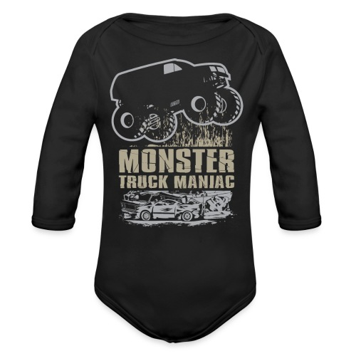 Monster Truck Maniac - Organic Long Sleeve Baby Bodysuit