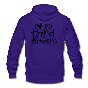 Love My Third Graders | Light Purple - Unisex Fleece Zip Hoodie by American Apparel
