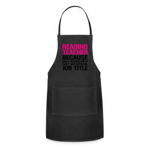 Reading Teacher... Ninja Isn't an Official Job Title | White + Metallic Silver - Adjustable Apron