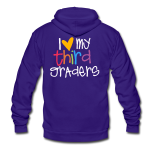 Love My Third Graders - Unisex Fleece Zip Hoodie by American Apparel