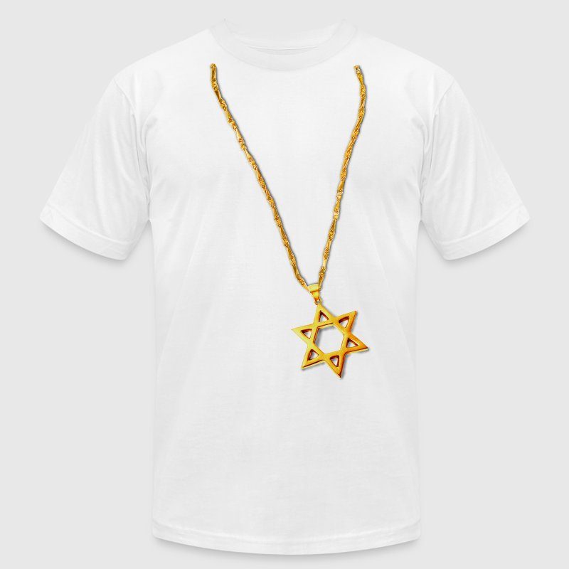 Gold Chain and Star of David - Men's T-Shirt by American Apparel