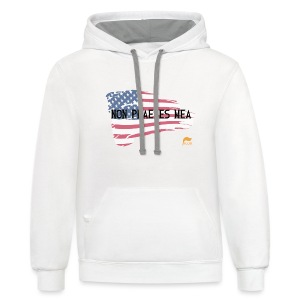 Men's Premium  T-shirt Not my president in Latin with flag - Contrast Hoodie