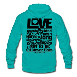 LOVE IS - Men - Unisex Fleece Zip Hoodie by American Apparel