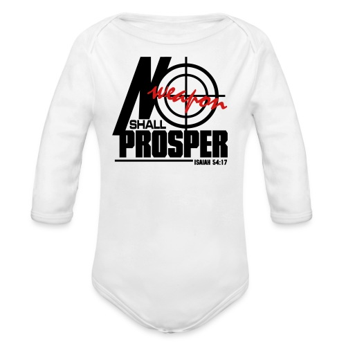 No Weapon Shall Prosper - Men - Organic Long Sleeve Baby Bodysuit