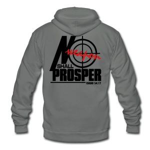 No Weapon Shall Prosper - Men - Unisex Fleece Zip Hoodie by American Apparel